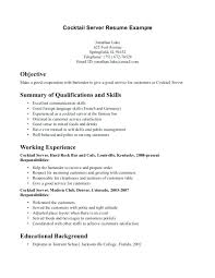 Resume For Cocktail Waitress Server Bartender Resume Resume ...