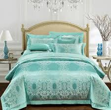 satin duvet covers inviting aqua green bedding set luxury girls jacquard bedspreads as well 4