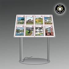 Estate Agent Display Stands LIT panels with removable detail holders supported at an angle on 1