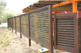 corrugated metal fence custom made wood privacy patina rust or unpainted look home depot