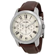 fossil grant chronograph egg shell dial brown leather mens watch fossil grant chronograph egg shell dial brown leather mens watch fs4735 691464920807