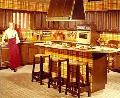 kitchen i remember the dark wood cabinets but our house have orange checked updating 1970s