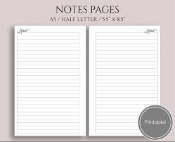 Printable College Ruled Paper Extraordinary Lined Notes Pages Printable Planner Inserts Medium College Etsy