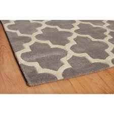 arabesque moroccan pattern wool rug grey 120 x 170 cm 4 x