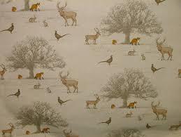 Curtain Fabric Fryetts Tatton Autumn Woodland Fox Stag Deer Scene Cotton