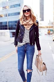 fall outfit casual layers faux leather black jacket black white stripe tee