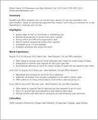 Resume Templates: Law Office Assistant
