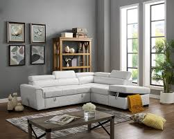oah d6171 3 pc madison white faux leather sectional sofa set with pull out sleep area