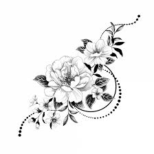 Temporary Tattoo Worldwide Graphic Flowers Black And White