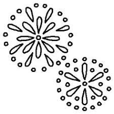 打ち上げ花火白黒夏の花火縁日の無料イラストミニカットクリップ
