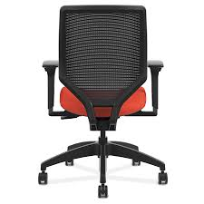 office chair back view. Saturn Modern Orange Mesh Back Office Chair - View S