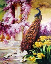 on number canvas wall art with beautiful peacock diy painting by numbers on canvas wall art