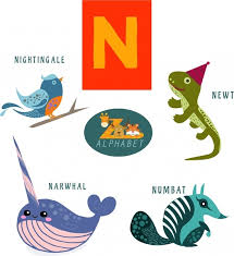 n letter design with colored flat style animals free vector in animals with letter n animals with letter n