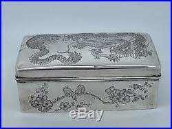 Decorating Cigar Boxes Antique Chinese Silver cigar Box EXPORT China 100 100 DRAGON 86