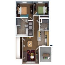 10 Awesome Two Bedroom Apartment 3D Floor PlansApartments Floor Plans 2 Bedrooms