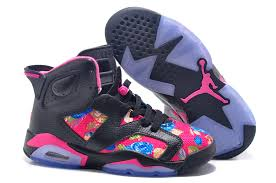 jordan shoes for girls pink and white. womens air jordan 6 gs floral custom black pink for sale in girls size shoes and white