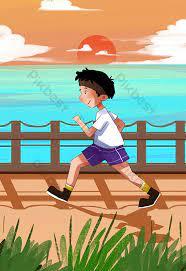 Buổi sáng chạy phim hoạt hình đẹp gió mùa hè | Minh họa PSD Tải xuống miễn phí - Pikbest