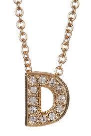 image of nadri 18k yellow gold plated pave d initial pendant necklace
