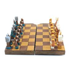 portable chess set hand carved wooden portable chess set
