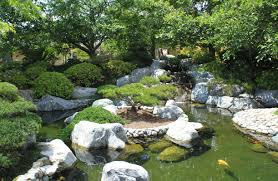 Lawn & Garden:Great Backyard Japanese Garden With Large Koi Pond Ideas  Exquisite Japanese Garden