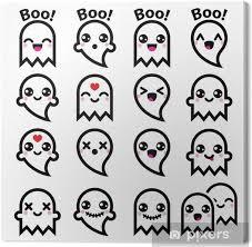 Quadro Su Tela Kawaii Fantasma Carino Per Le Icone Di Halloween Set