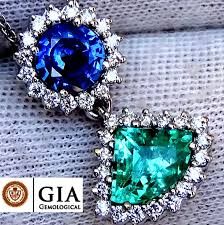 natural unheated blue sapphire and colombian emerald diamond pendant with necklace in 18 kt gold 2 95
