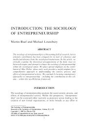 Pdf The Sociology Of Entrepreneurship