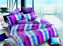 hot bright purple blue lattice checker pattern 4pcs full queen bed in a bag