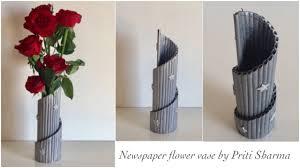 News Paper Flower Vase Newspaper Flower Vase Diy Newspaper Pen Holder Newspaper