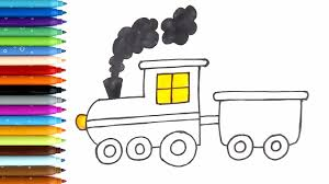 Learn Colors L How To Draw And Color Toy Train Coloring Pages L