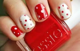 Showing School Spirit with the Red and White Polka-Dots!!! Cute! | Dots  nails, Polka dot nails, Cute nails
