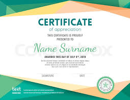 Modern Certificate With Green Stock Vector Colourbox