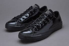 converse chuck taylor all star patent leather ox black shoes women no1644