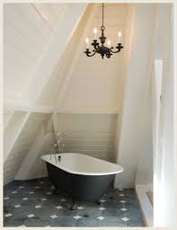 this bath tub was painted to match the dark gray tile floors