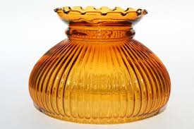 vintage amber glass lampshade replacement ribbed glass student lamp desk light shade