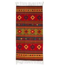 unicef market multicolor wool rug with geometric pattern 2 5x5 geometric flower