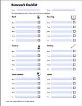 Homework Checklist Teachervision