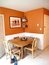 Orange Paint Colors For Bedrooms Orange Walls With White Wainscoting Try Falling Leaves By Behr