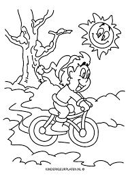 Kleurplaat Fietsen Mountainbike Jaargetijden