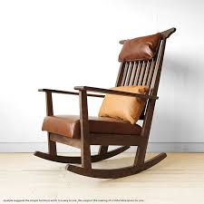 and the rocking chair walnut wood natural wood section solid walnut with luxurious materials used cover type with leather cushion chair wooden chair