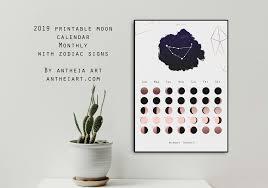 Printable Moon Calendar 2019 Monthly