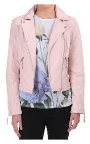 am london womens leather biker jacket pink