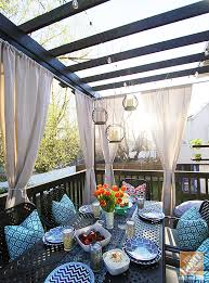 deck decorating ideas a pergola lights and outdoor curtains