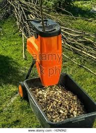 garden mulcher. Shredder Garden Electric Wood With Chips Used For Mulching Stock Image Mulcher