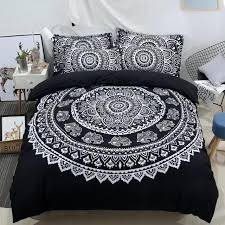 black and white bed linens 3d mandala flower printed duvet cover bohemian elephant bedding set single queen full king size full size comforter set duvet
