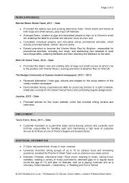 Cover Letter Music Resume Examples Resume Examples Music Industry