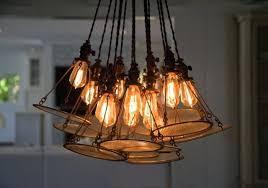 edison style lighting custom bulb vintage headlamp chandelier contemporary dining room