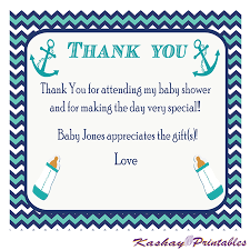 Thank You Cards Baby Shower Nautical Baby Shower Thank You Card Kashay Printables