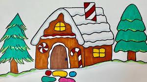 วาดรูประบายสี บ้านขนมเค้ก วันคริสต์มาส อย่างง่ายๆ| Drawing Christmas  Gingerbread house - YouTube