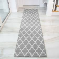 details about grey trellis moroccan carpet modern hall rugs long narrow hallway runner rug uk